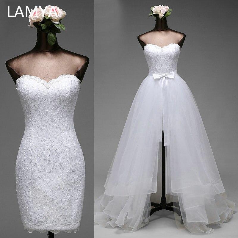 LAMYA 2019 Cheap 2 In 1 Wedding Dress Plus Size Sexy Lace Sweetheart Bride Dresses Simple Removable Vestidos De Novia