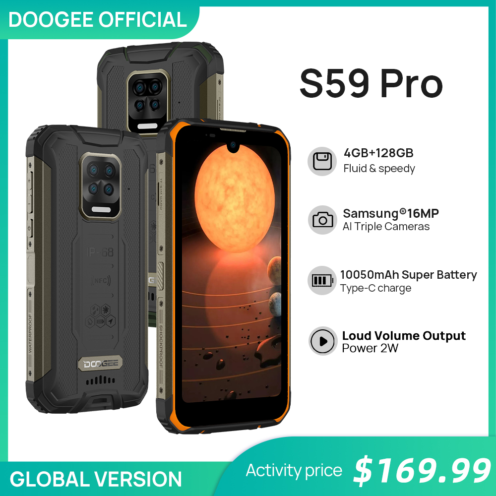 10050 мАч супер Батарея DOOGEE S59 Pro IP68/IP69K 4 + 128 ГБ NFC прочный смартфон 2 Вт громкий объем Динамик