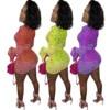 PING ZHAO Bandana Print Mesh Sheer Bodycon Dress Women Party Club Wear See Through Drawstring Long Sleeve Dresses 2