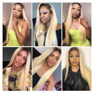 Image 5 - Facebeauty 1B 613 Dark Root Blonde Ombre Brazilian Remy Straight Hair 3/4 Bundle with 13x4 Lace Frontal Closure Free Middle Part