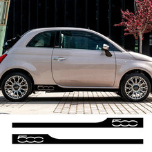 2 autocollants de garniture de jupe latérale de porte de course, autocollants de décoration de carrosserie automobile pour Fiat 500, accessoires de réglage de voiture personnalisés