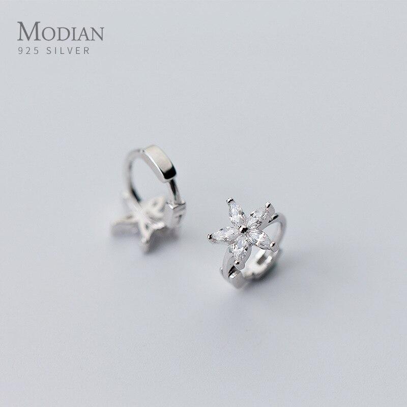 Modian 3 Color Silver Flower Clear CZ Ear Hoops For Women Circle Plant Hoop Earrings Korean Crystal Fashion Wedding Jewelry