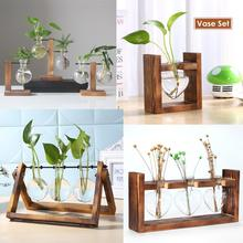 Glass Wood Vase Table Desktop Hydroponics Plant Stationery Bonsai Flower Pot Decoration Hanging Pots with Wooden Tray Pen Holder