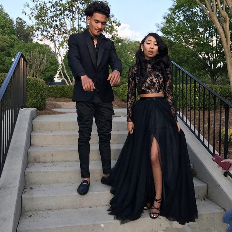 Black Prom Dress 2019 A-line High Collar Long Sleeves Lace Two Pieces Slit Long Prom Gown Evening Dresses Robe De Soiree