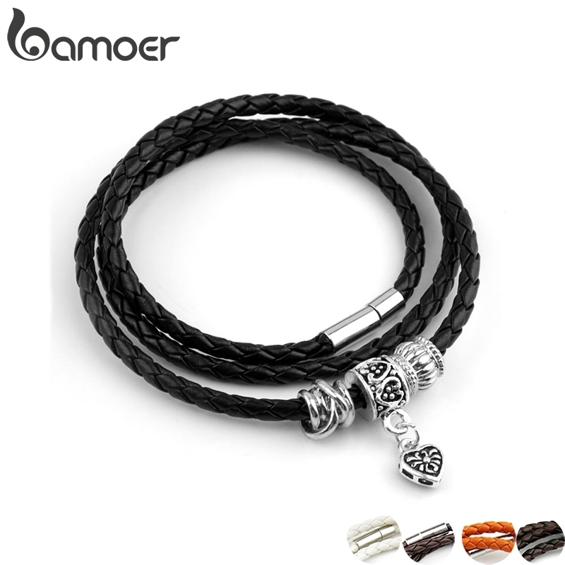 Newest Arrival Silver Plated Charm Black Leather Bracelet for Women Five Colors Magnet Clasp Christmas Gift Jewelry PI0311|bracelet red|bracelet flagbracelet phone - AliExpress