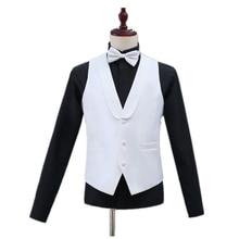 Men's Slim Suit Vest Formal Business Casual Sleeveless Jacket Vest Men's Shawl Collar Black/White Men's Vest Banquet Party Prom