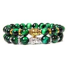 Высокое качество натуральный зеленый тигровый глаз браслет из бисера Мужская Мода Серебро Золото подвеска в виде головы Будды браслет для женщин мужчин Йога ювелирные изделия