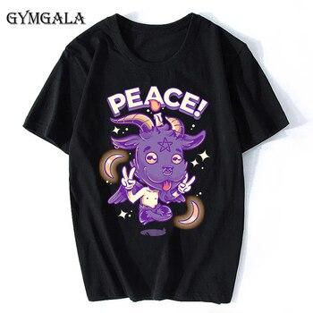 100% cotton anime cartoon Geng ghost printed men's T-shirt summer cotton short-sleeved T-shirt fashion tops tee men's clothing f - XQ-131black, Asian size XL
