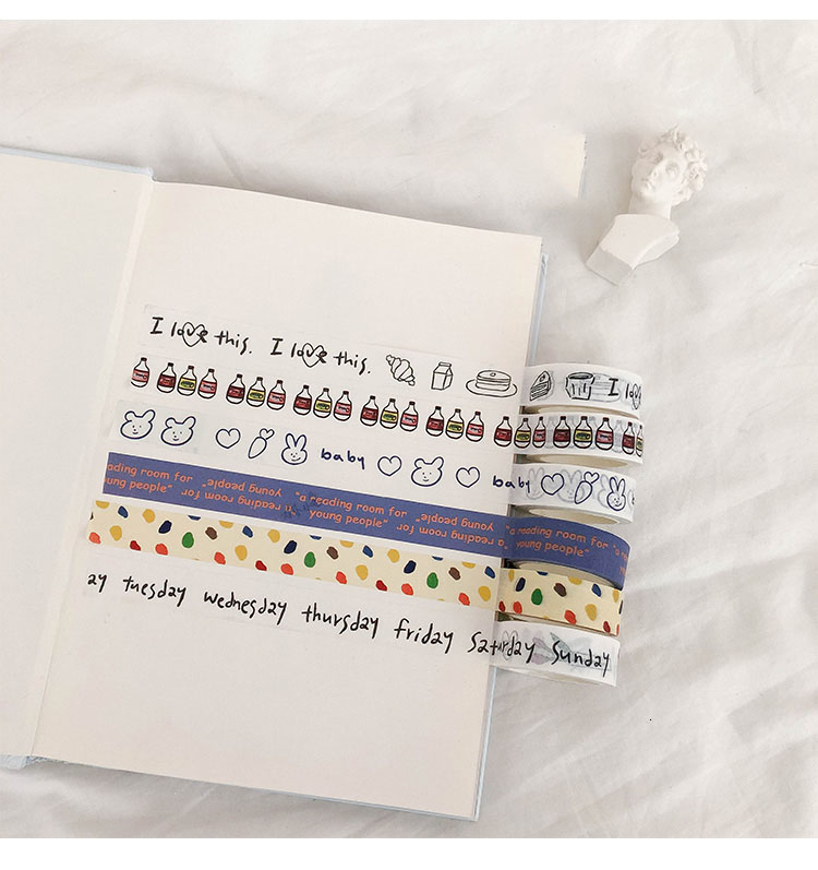 SIXONE Ins Simple Cartoon Washi Tape English Letter Hand Account Sticker Decorative Tapes Korean Kawaii Scrapbook Stationery