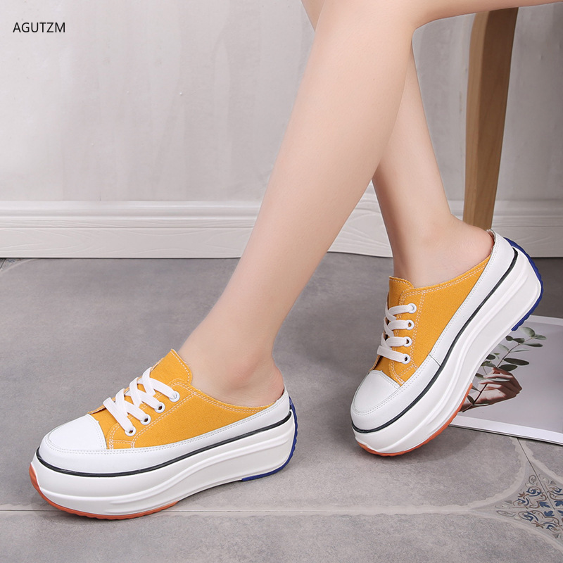 Womens Shoes 2019 Summer Half Slippers Baotou No Heel Casual Canvas Shoes High-heeled Shoes Lazy Shoes Vulcanized Shoes Z210