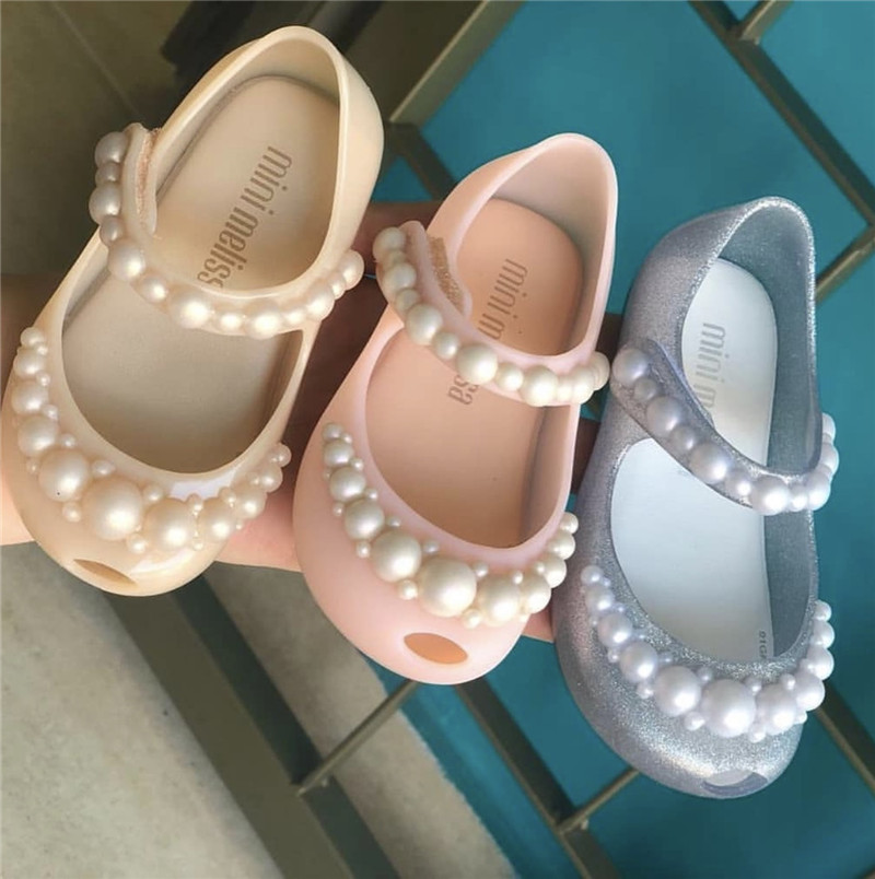 Mini Melissa Children's Shoes 2020 New Kids Girl Princess Pearl Single Shoes Fashion New Fragrance PVC Jelly Shoes Beach  MN026