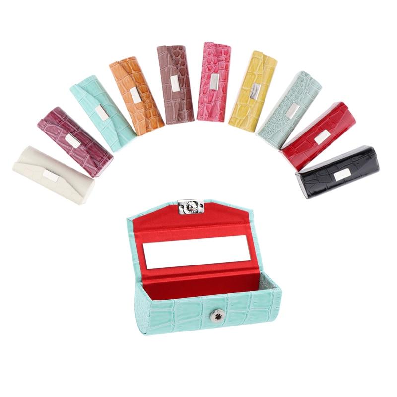 Leather Lipstick Case Holder Storage Box With Mirror Lip Gloss Case Lipstick Storage Case Box For Purse