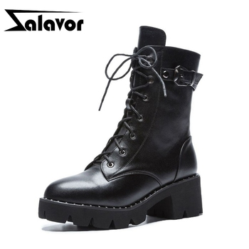 ZALAVOR Women Mid Calf Boots Genuine Leather Gothic Shoes Women Lace Up Fashion Zipper Square Heels Platform Boots Size 33-43