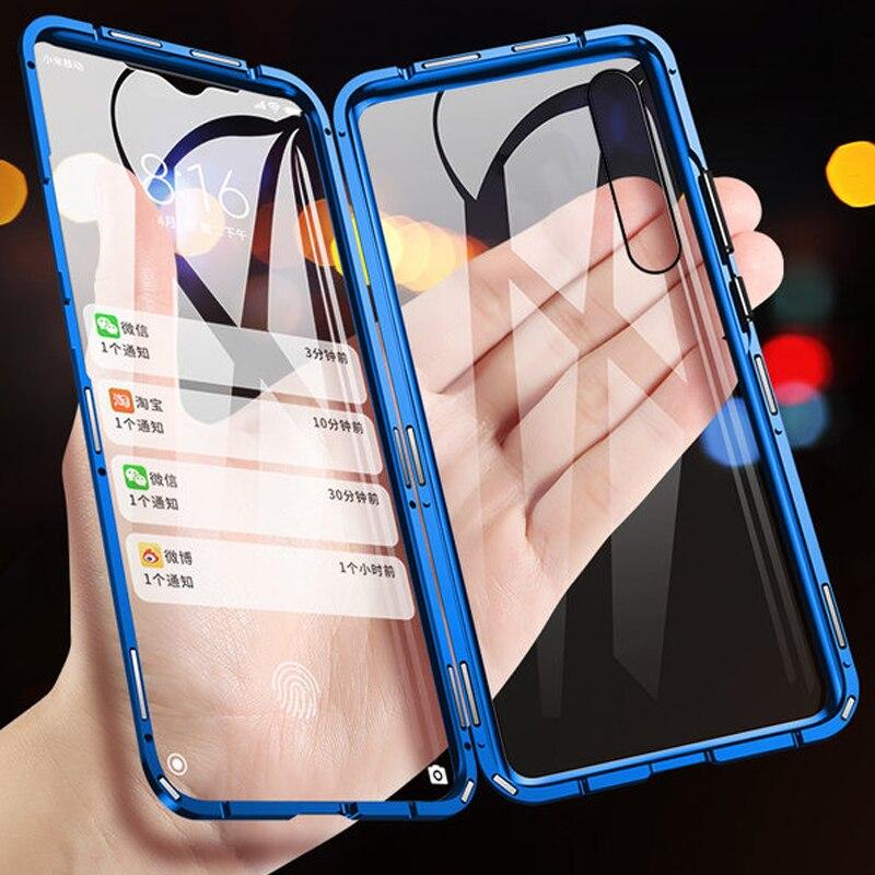 360 Total Proteção Magnética Caixa De Metal Para Samsung Galaxy A7 A9 2018 A30 A50 A60 A70 A80 Frente Para Trás Temperado casos de Cobertura de vidro
