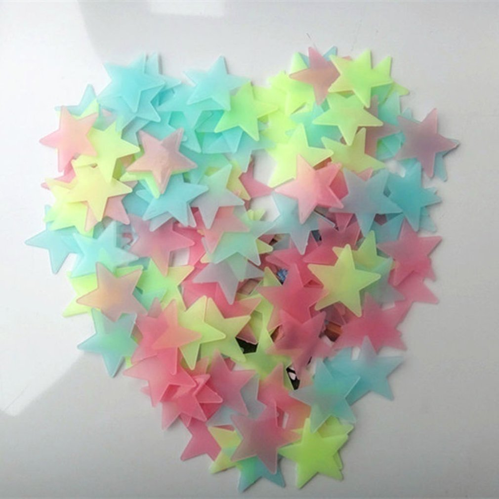 100PCS 3/3.8/4.6CM Luminous Star Wall Sticker Luminous Fluorescent 3D Kids Bedroom Ceiling Home Dark Place Star Wall Stickers