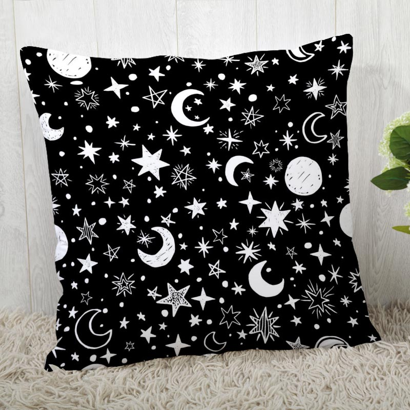 Custom Black And White Pattern Pillow Cases Square Pillowcase Christmas Zippered Pillow Cover 40*40cm,45*45cm(One Side)
