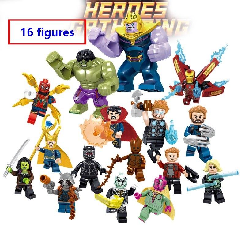 New Avengers 16 Figures/set Marvel Endgame Building Blocks Iron Man Thanos Hulk Thor Panther Tony Compatible With Leping Bricks