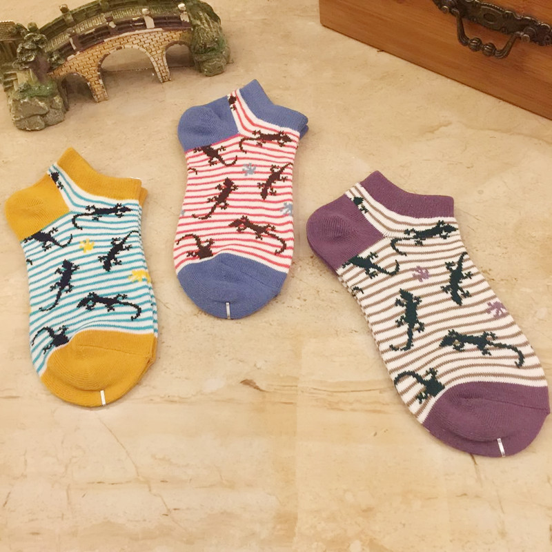 Pure Colors Striped Animal Print Socks Gecko Spring Autumn Women Cotton Sock Breathable Absorb Sweat Casual Cute Funny Cartoon