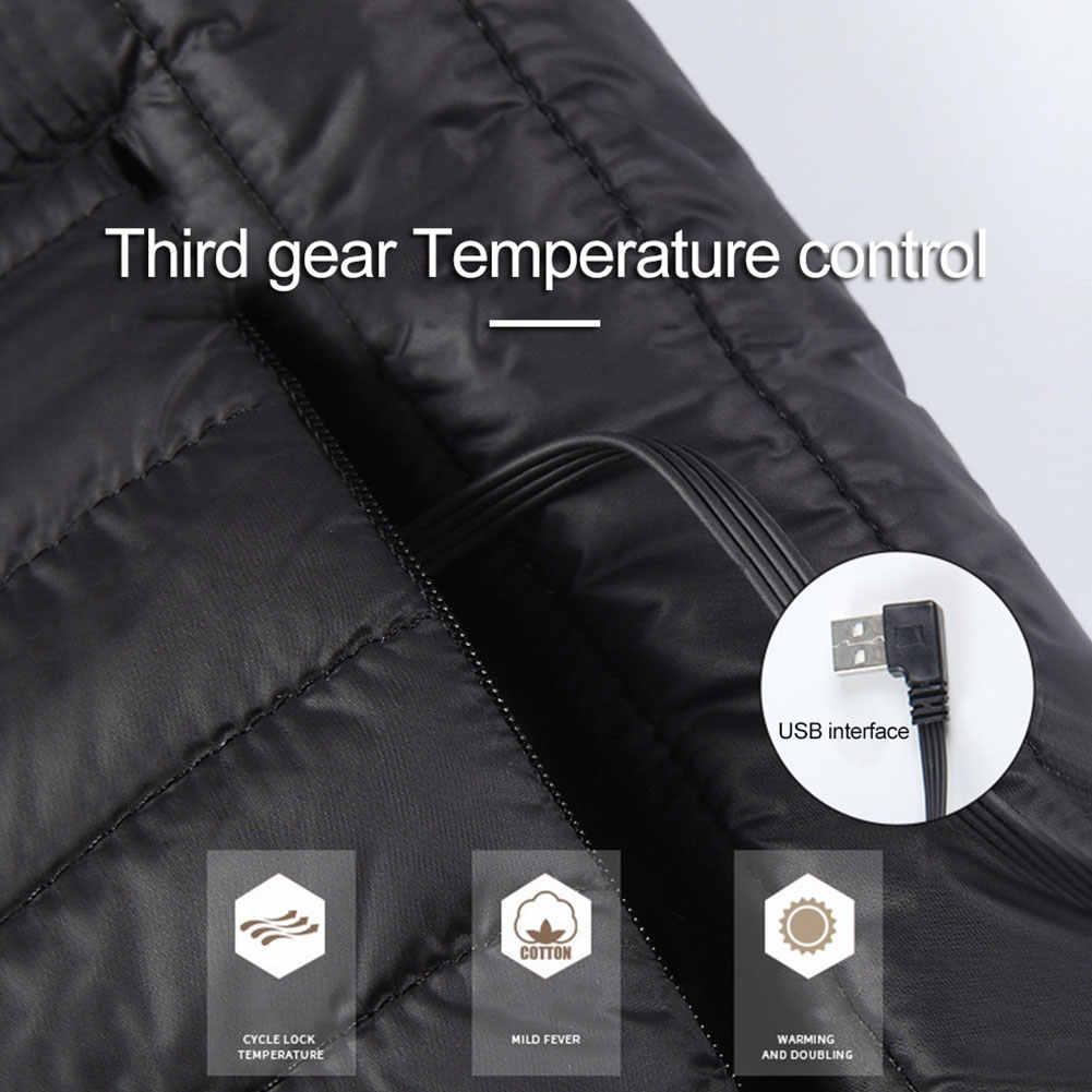Listrik Jaket Pria Wanita USB Termal Inframerah Jaket Antarmuka USB Pemanas Berlapis Kapas Pakaian Hiking Gunung