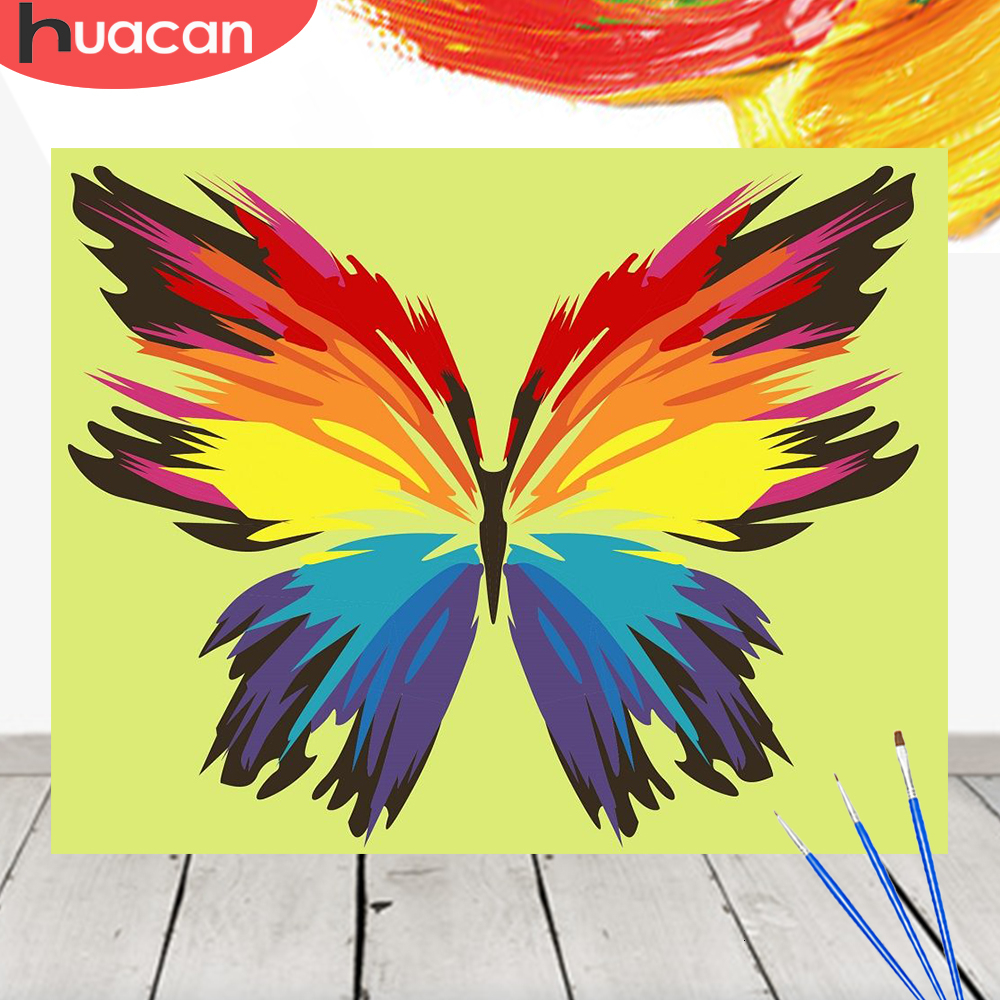 HUACAN Painting By Numbers Butterfly Kit Acrylic Paint On Canvas Wall Art Picture HandPainted Animals Home Decor DIY Gift