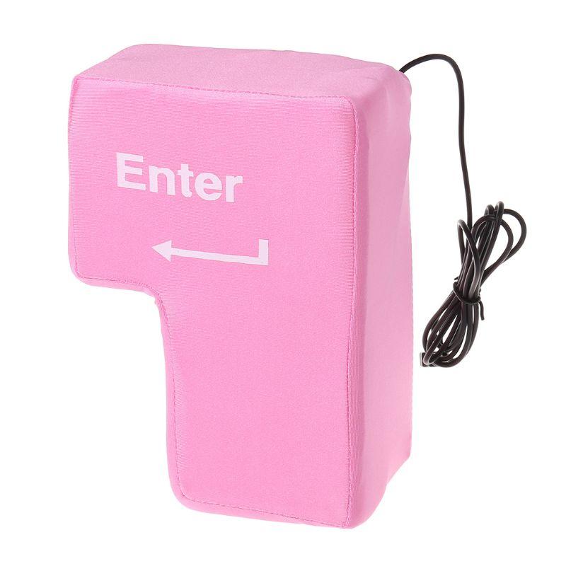 USB Big Enter Key Large Enter Key Decompression Computer Vent Button Desktop Pillow Stress Relief Gift for PC USB Gadget C26