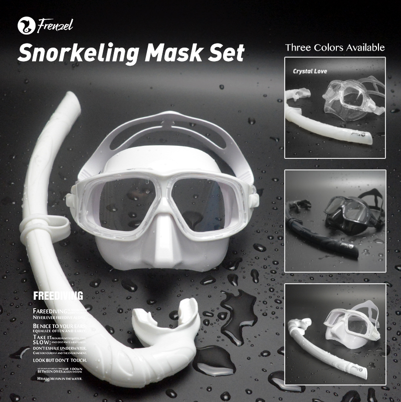 Diving Mask Snorkel FRENZEL Professional Low Volume Spearfishing Scuba Soft Silicone Anti Fog Swimming  Black&Transparentr Set