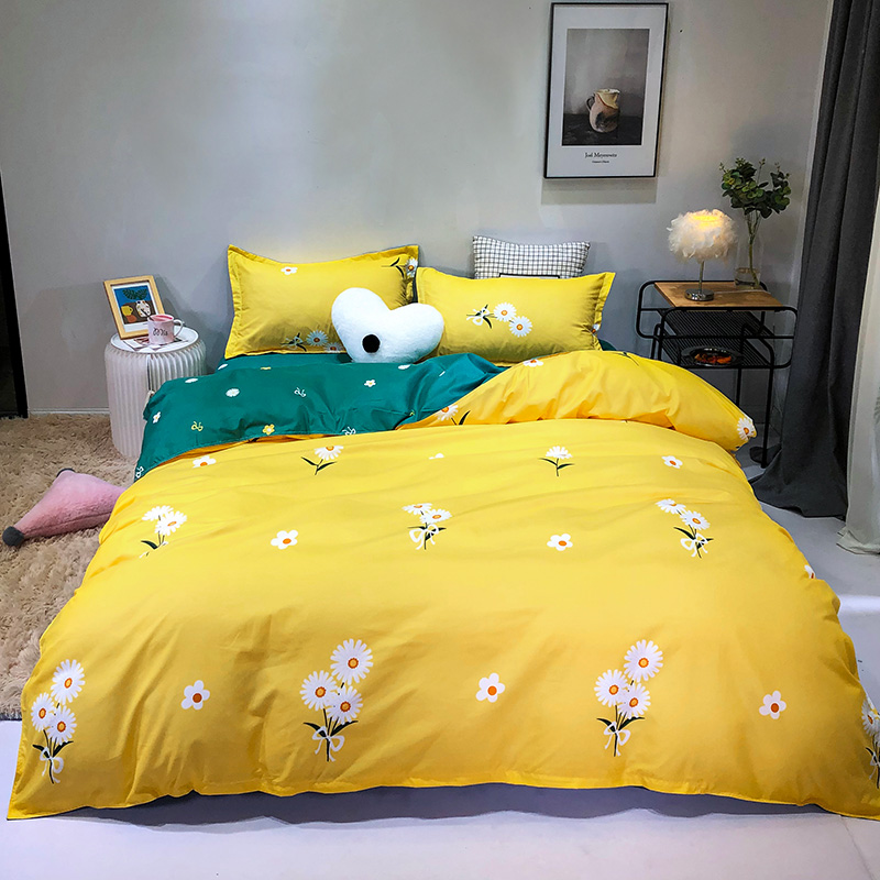 Flowers Pattern Yellow and Dark Green Linen Sheets sets