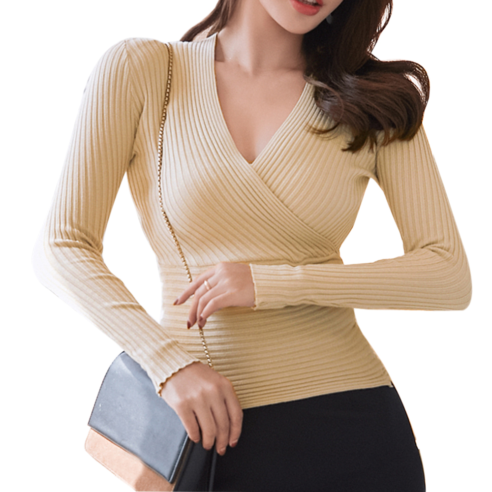 2020 New Sexy Deep V Neck Sweater Women's Pullover Casual Slim Bottoming Sweaters Female Elastic Cotton Long Sleeve Tops Femme