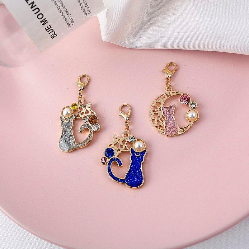 Sansummer 2019 New Hot Fashion Cute Cat Stars Casual Dangle Pearl Moon Rhinestone Horse Dog Popular Key Chain For Women Jewelry