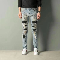 Water drill jeans New Italy Style Men's Distressed Destroyed Oiled Pants Blue Crystals Patches Blue Skinny Jeans Slim Trousers