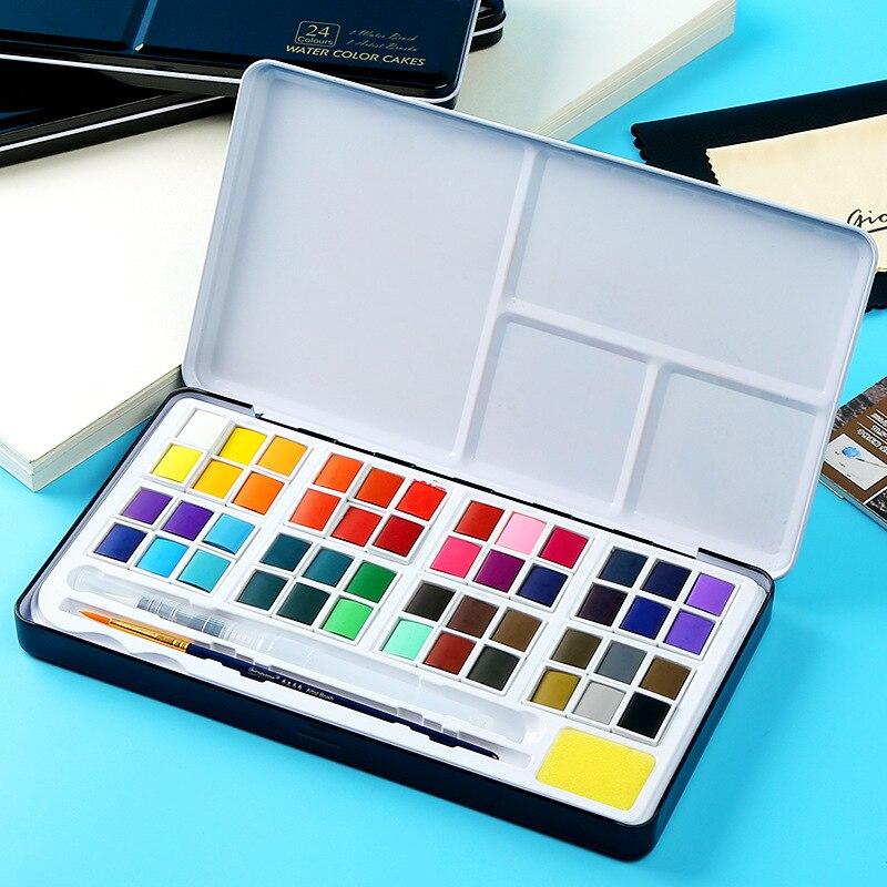 Профессиональный набор однотонных красок для воды 18/24/36/48 цветов с кистью для рисования, набор пигментов для воды, Acuarelas Verf товары для рукоде...