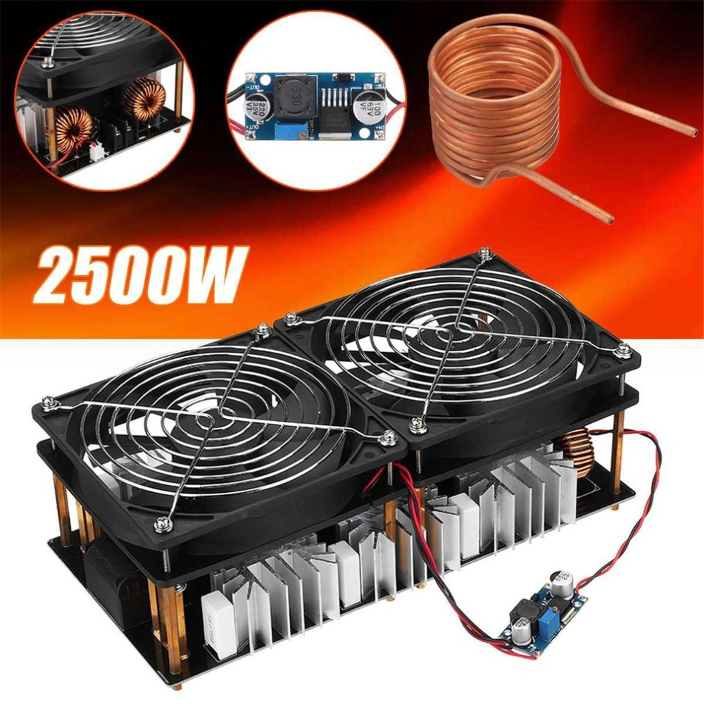 Bewinner1 2500W ZVS Induction Heater Module Flyback Driver PCB Heating Board Large Radiator with Spiral Copper Tube Crucible and Water Pump Pipe 12-48V