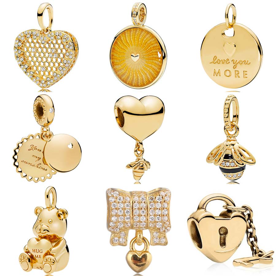 Gold Color Shine You Are My Sunshine Honeycomb Lace Heart And Bee Pendant Charms Fit Pandora Bracelet 925 Sterling Silver Bead Beads Aliexpress