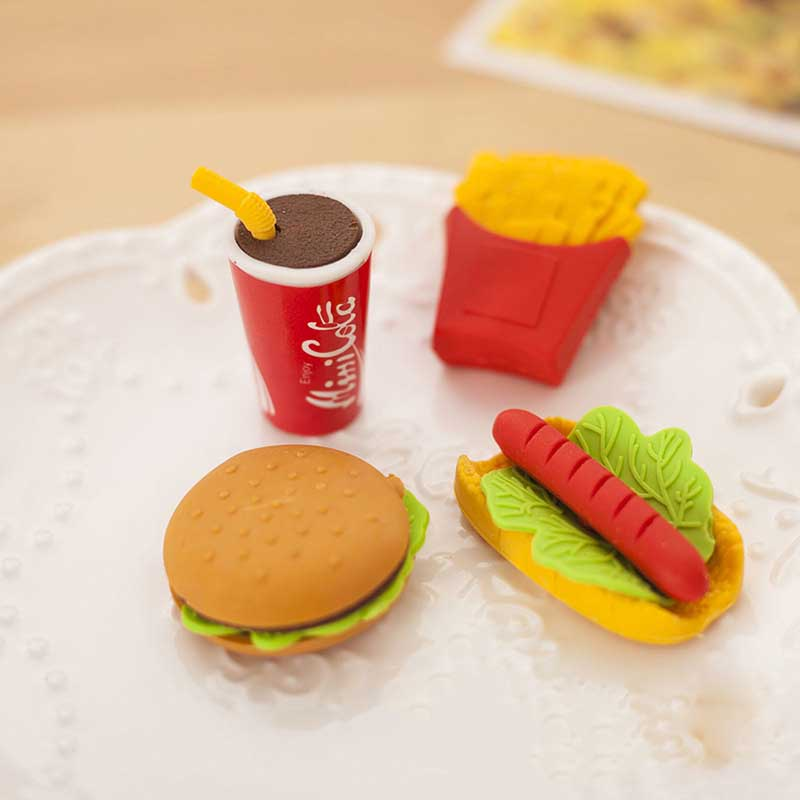 1pcs/lot Interesting Creativity Burger Cola Fries Hot Dog design Food Drink Rubber Eraser brain game for kids School Silgi image