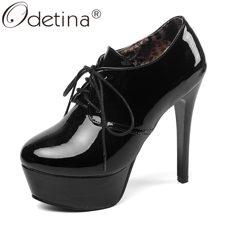 Odetina Patent Leather Womens Sexy High Heel Platform Ankle Booties Comfy Lace Up Round Toe Pumps Vintage Stiletto Plus Size 46