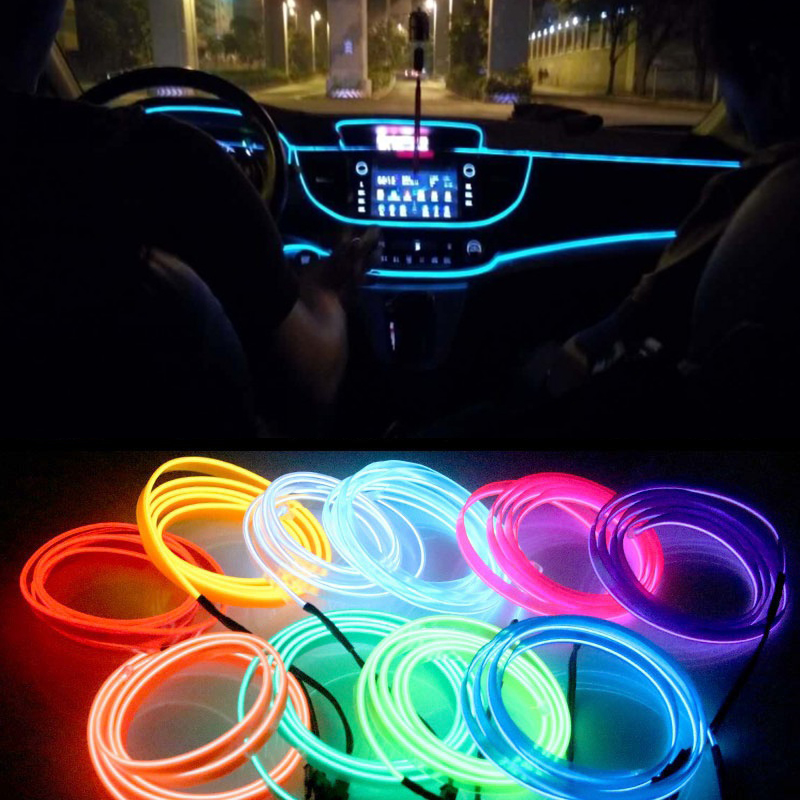 2M/3M/5M Car LED Lighting Auto Strip Garland EL Wire Rope Tube Line  Interior Flexible Neon Light With 12V Cigarette Drive D40