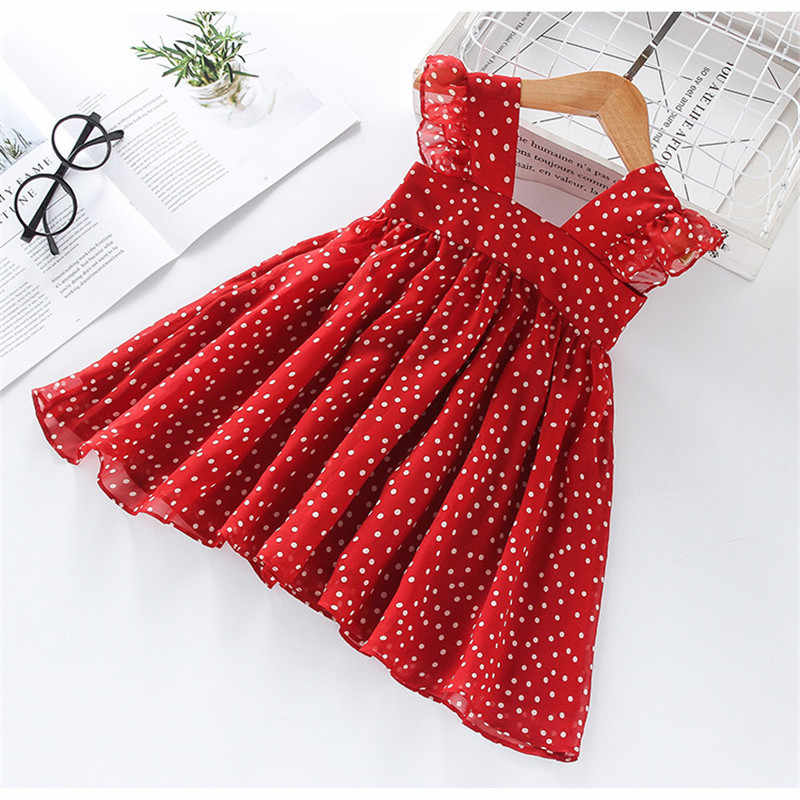 2020 Girls Dress Summer Girls Sleeveless Chiffon Polka Dot Dress Princess Dress Girl  Children Clothing