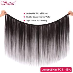 Image 5 - Satai Straight Human Hair Bundles 3 Bundles 8 30 inch M Remy Hair Bundles Brazilian Hair Weave Bundles 100% Human Hair