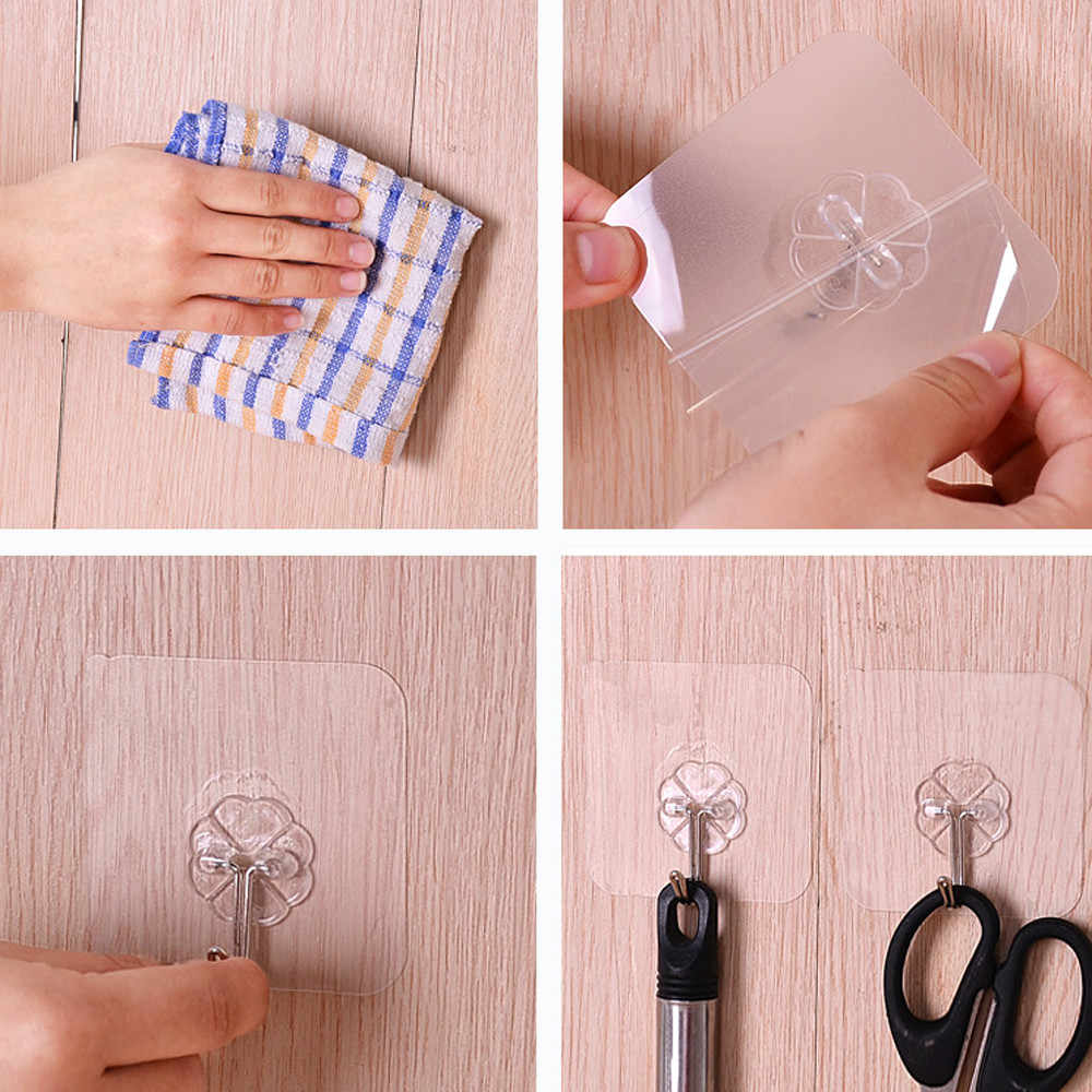 12 Chiếc Móc Treo Tường Mạnh Mẽ Trong Suốt Hút Hút Móc Treo Nhà Bếp Phòng Tắm Đa Sử Dụng Keo Dính Móc Cửa Traceless Вешалка