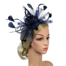 Women Wedding Bowknot Banquet Cocktail Hair Accessory Gift Fascinator Headband Derby Day Party Hat Church Fedoras Feather Mesh(China)