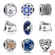Neue ankunft freies verschiffen hund pfote blau schneeflocke murano glas diy Bead fit Original Pandora charms silber 925 für frauen schmuck