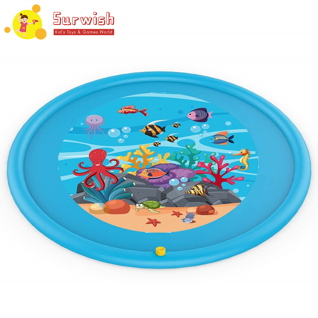 Summer Sprinkler Play Mat Wading Pool Splash Pad Inflatable Water Toys For Kids - Blue
