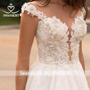 Image 5 - Swanskirt Fashion Crystal Wedding Dress 2020 New Sweetheart Appliques A Line Illusion Princess Bride Gown Vestido de novia GI51