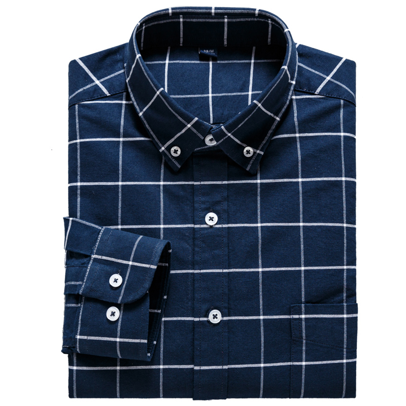 Men's Long Sleeve Plaid Checked Button Down Casual Shirts With Left Chest Pocket Standard-fit Comfortable Soft Cotton Shirt