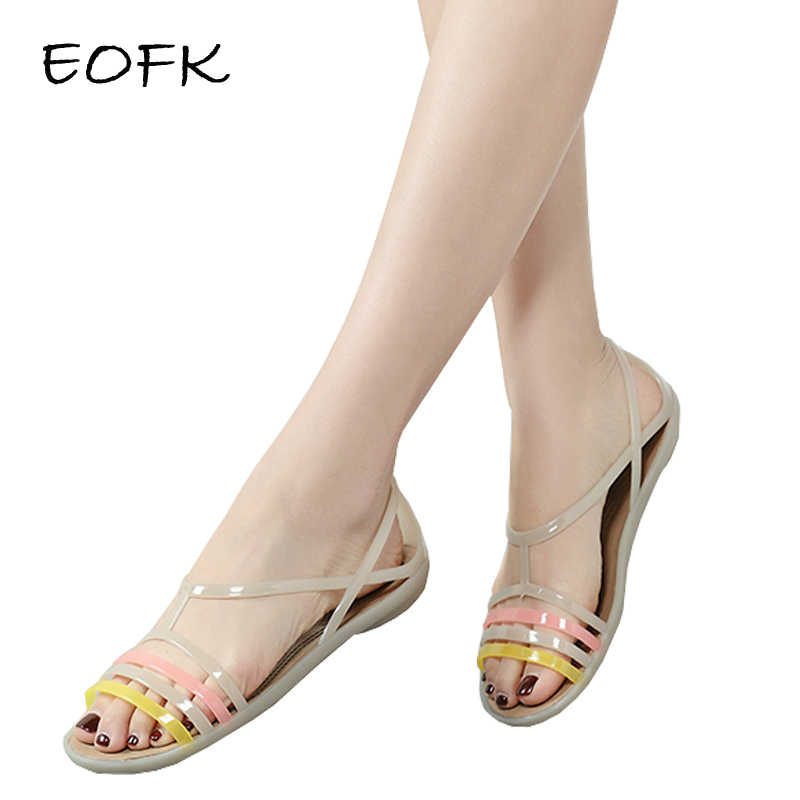 EOFK 2020 女性サンダル夏新 Eva カジュアル色ソフトでビーチゼリーの靴女性フラットサンダル