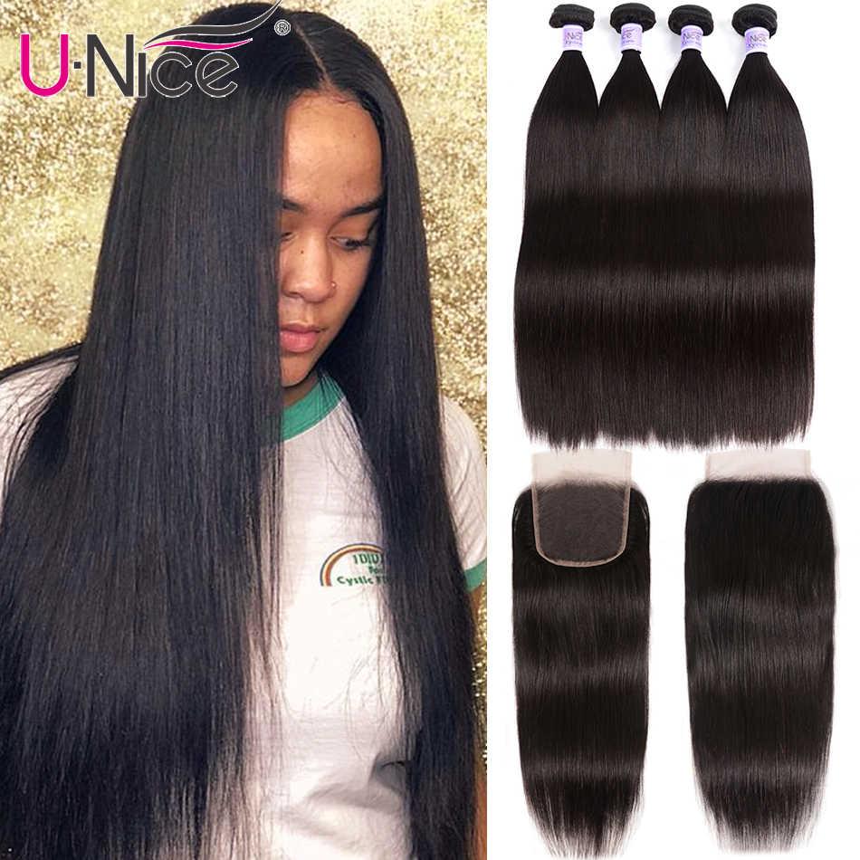 UNice Hair Kysiss Series 8A Peruvian Hair 3/4 Bundles With Closure Straight Virgin hair Extension 8-30 inch Bundles With Closure