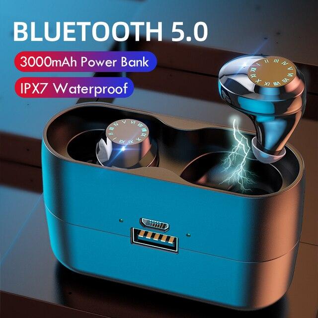 Słuchawki bezprzewodowe IPX7 wodoodporna sterowanie dotykowe 9D Bluetooth TWS 5.0 słuchawki Stereo słuchawki sportowe słuchawki z mikrofonem