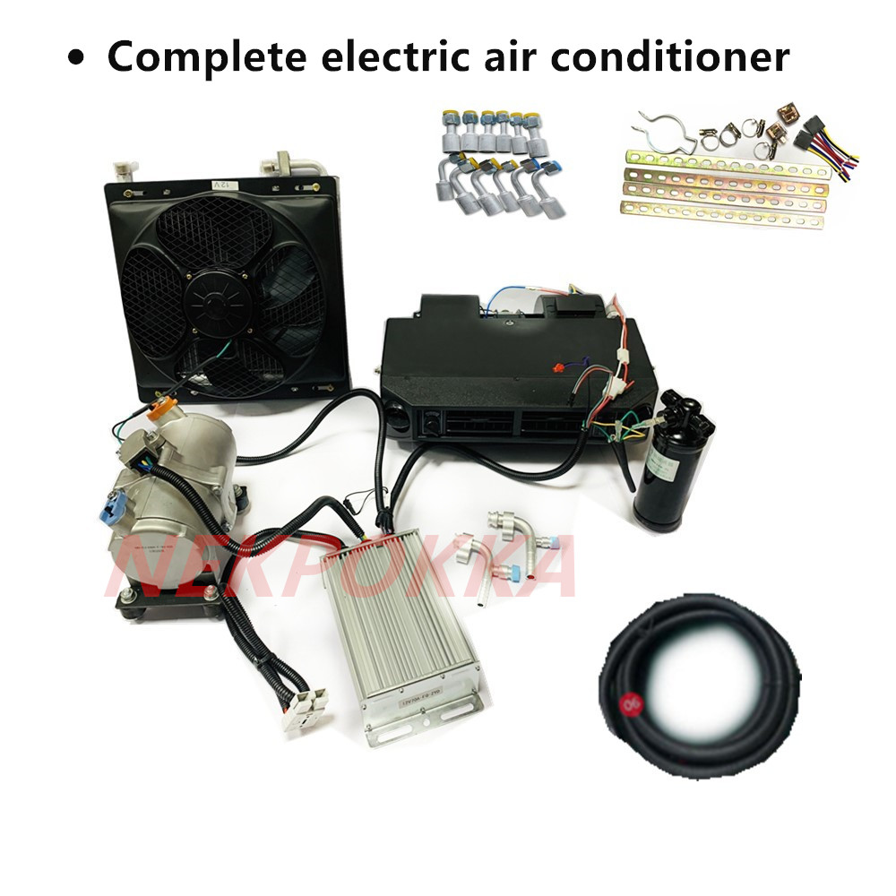 Yeni enerji araç elektrikli kompresör soğutma, yükseltilmiş versiyonu otomobil elektrikli klima 12V 24V