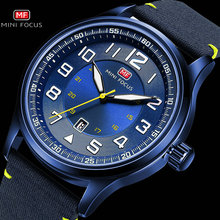 MINI FOCUS Military Men Watches Marine Quartz Watch  Blue NylonLeather Strap 3D Index Design Auto Date Fashion Relogio Masculino