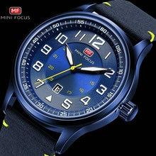 MINI FOCUS relojes militares para hombre, de cuarzo marino, correa de nailon azul, diseño de índice 3D, fecha automática, Masculino